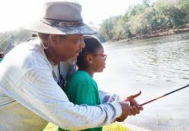 Man helping child with fishing rod