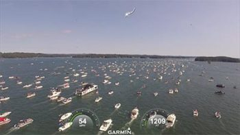 Aerial view of Great American Boat Parade on Lake Lanier