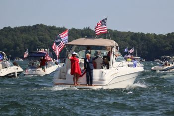Great American Boat Parade boats with flags