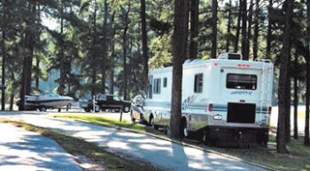Camper parked at Corps campground