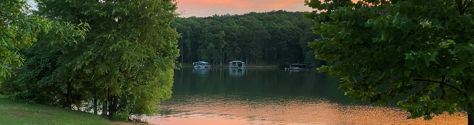 Real Estate Page Header - sunset, boat docks, lake view