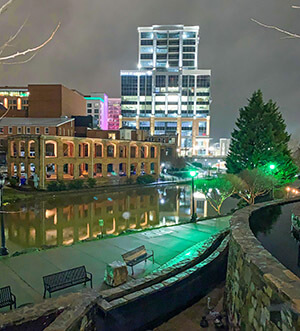 Along the Reedy river at night in Downtown Greenville