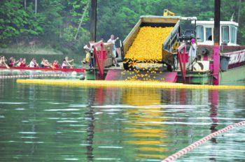 Truck dumping rubber ducks into Lake Lanier for race.