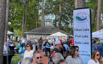 Lake Lanier Association members and guests outside at Gainesville Marina