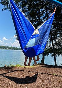 Child in hammock overlooking Lake Lanier