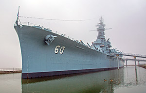 The USS Alabama in the Morning