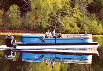 Viaggo Pontoon boat on lake - new line of pontoon boats for Gainesville Marina on Lake Lanier