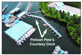 Aerial view of Pelican Pete's new courtesy dock