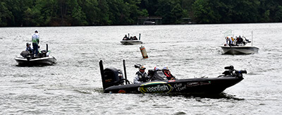 Scene with fishermen in their boats on Lake Lanier, some of the 66 fishing tournament participants