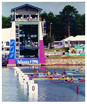 Scene at Olympic Tower on Lake Lanier from 1996 Olympic rowing event