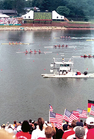 USA flags waved by spectators at 1996 Olympic rowing event