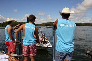 View of volunteers on dock working the Poker Run race