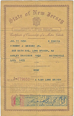 A bill of sale for Harley motorcycle