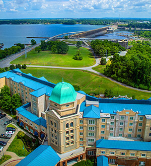 Ariel view from the 360 Grille of Wilson Dam and Marriott Shoals Hotel and Spa
