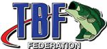 TBF Federation logo - blue TBF letters and green bass fish with red swoosh mark