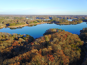 Aerial view of Lake Lanier in the fall