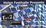 collage of info about Festhalle in Helen celebrating 50th anniversary in 2021 since 2020 didn't happen