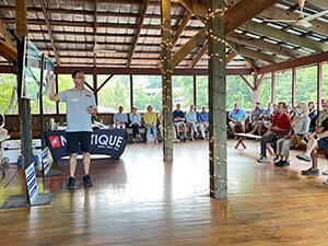 Attendees listen to speaker at Wake Boat Seminar